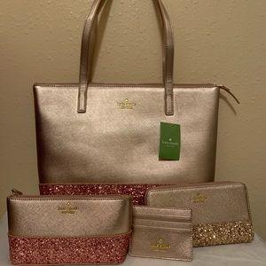 NWT Kate Spade Rose Gold Glitter Set!